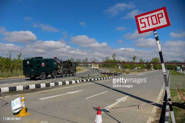 Indian army convoys seen moving on National Highway on the outskirts of Srinagar The Indian authorities on Wednesday April 3 banned civilian traffic...
