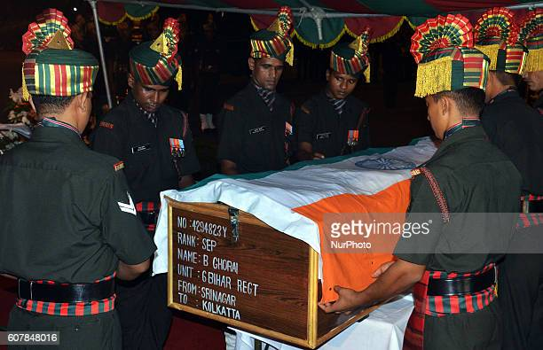 Indian Army Gard of Honor the Bodies of two soldiers killed at Uri to arrive Netaji Subash Chandra Bose International Air Port in Kolkata India on 19...