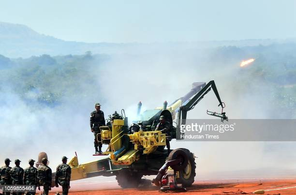 Indian Army inducts K9 Vajra M777 howitzers guns at the Deolali artillery centre on November 9 2018 in Nashik India Officials said the defense...