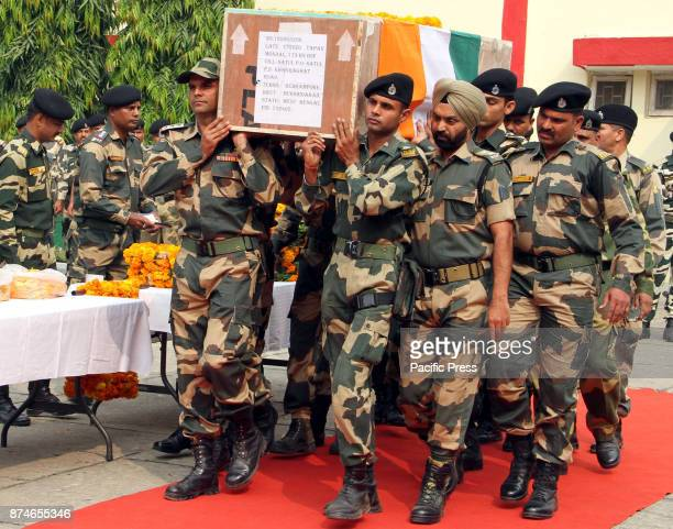 Indian Army Jawans Carry The Coffin Containing The Body Of Sohan Lal During The Funeral At