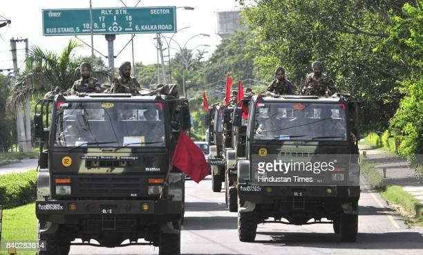 Indian Army march during the pronouncement of the sentence against the Dera Sacha Sauda cult chief Gurmeet Ram Rahim Singh in dual rape case on...