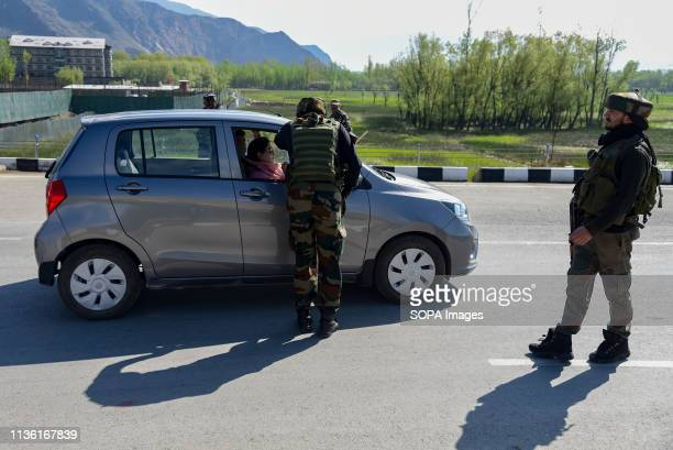 Indian army men seen checking a local vehicle on National Highway on the outskirts of Srinagar The Indian authorities on Wednesday April 3 banned...