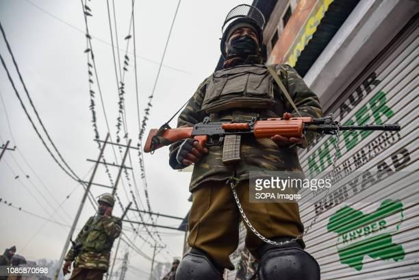 GAW KADAL SRINAGAR JAMMU KASHMIR INDIA Indian army men seen standing alert during restrictions in Srinagar Kashmiris mark 29th anniversary of Gaw...