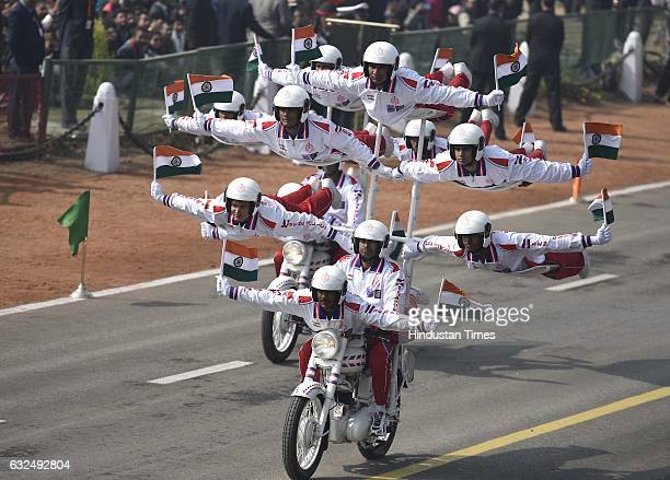 Indian Army military police Daredevils motorcycle riders take part during the full dress resheashal Republic Day parade on Rajpath on January 23 2017...