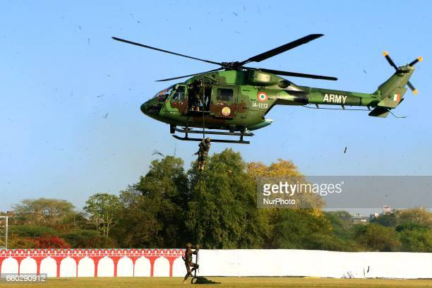 Indian army para commando showing their skills during the Army Pageant amp Air Force Show on the eve of Rajasthan day celebration at Polo Ground in...