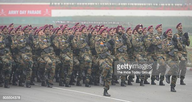 Indian Army Para Commandos march during the Army Day parade in New Delhi