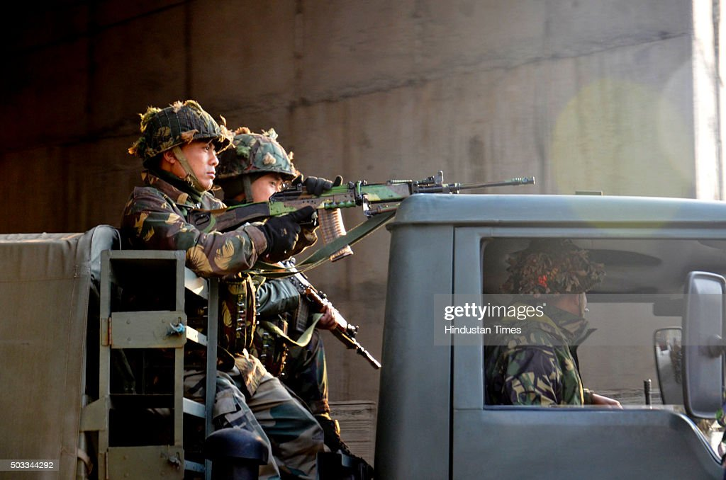 Indian Army personnel on Army truck enter Pathankot Air Force Base during a terror strike on January 4 2015 in Pathankot India Seven soldiers and at..