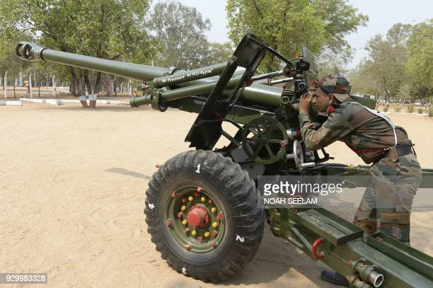 Indian Army recruits train with the 105 / 37 Indian Field Gun at the Artillery Centre in Hyderabad on March 10 2018 The Artillery Centre in Hyderabad...