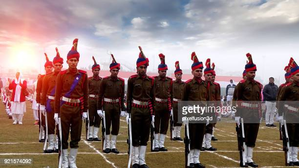 indian army soldier standing in a row with pride during republic day celebration - republic day stock pictures, royalty-free photos & images