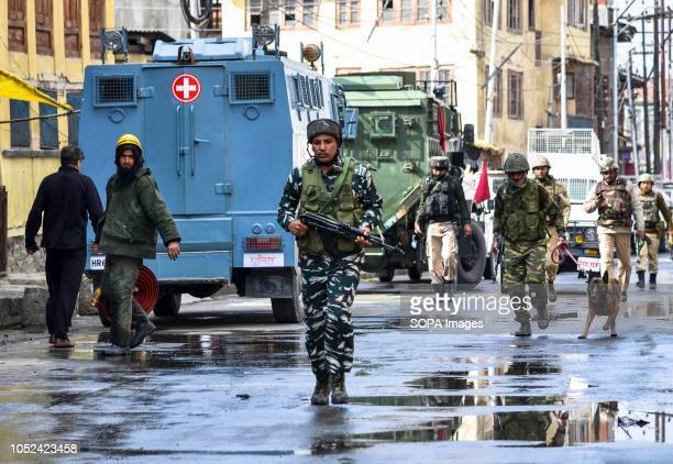 Indian army soldiers are seen patrolling during the clashes Clashes broke out between militants and government forces in Srinagar The government...