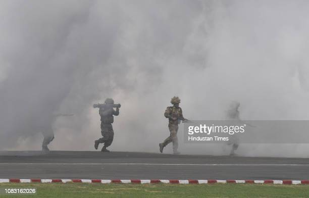Indian Army soldiers display their battle skills during the Army Day Parade at Cariappa Parade Ground on January 15 2019 in New Delhi India The Army...