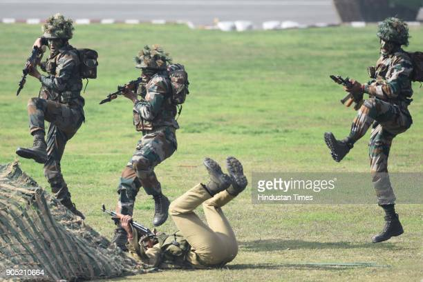 Indian Army soldiers display their combat skills during the Army Day Parade 2018 at Delhi cant on January 15 2018 in New Delhi India This year the...