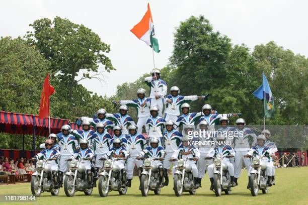 TOPSHOT Indian Army soldiers from the Daredevils Team take part in a display during a ceremony to celebrate the country's 73rd Independence Day which...