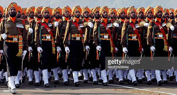 Indian army soldiers from the Sikh regiment march during the Army Day parade in New Delhi 15 January 2008 India's Army Day commemorates the late...