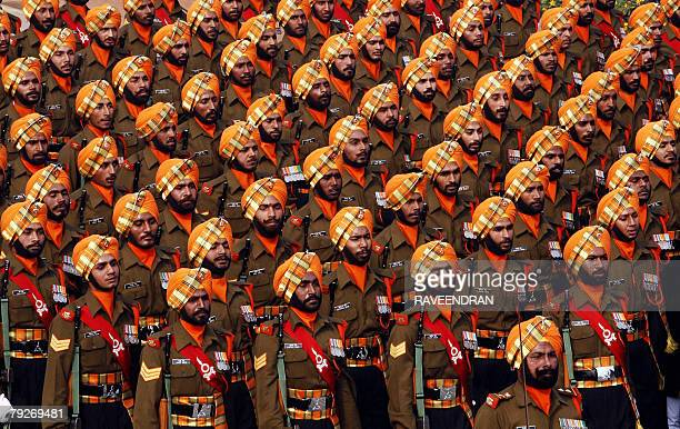 Indian army soldiers from the Sikh regiment take part in India's 59th Republic Day parade in New Delhi 26 January 2008 French President Nicolas...