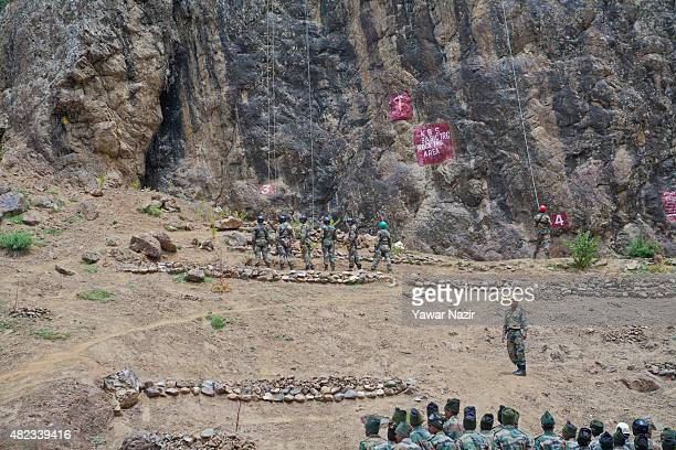 Indian army soldiers of Kargil Battle School a deposition and systematic combatant structure of the Indian Army troops receive training on a mountain...
