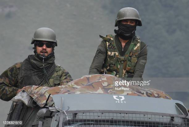 Indian army soldiers on top of a military vehicle crossing the SrinagarLeh National highway on September 01 2020In a further escalation of tensions...