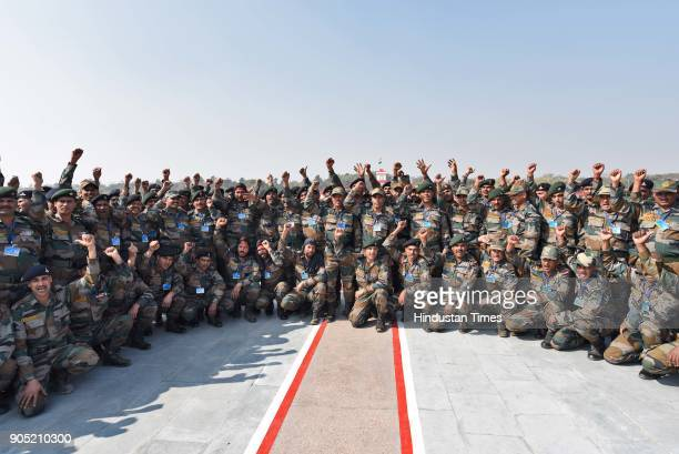 Indian Army soldiers shout slogans during the Army Day Parade 2018 at Delhi cant on January 15 2018 in New Delhi India This year the 70th Army Day is...