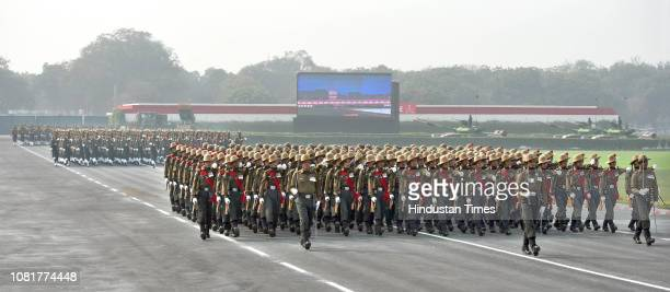 Indian Army soldiers show their skills during the full-dress rehearsal for their forthcoming Army Day at Cariappa Ground, on January 13, 2019 in New...