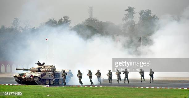 Indian Army soldiers show their skills during the fulldress rehearsal for their forthcoming Army Day at Cariappa Ground on January 13 2019 in New...