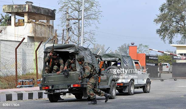 Indian Army soldiers take positions at 16 corps army headquarters after terrorist attack in Nagrota as commandos battle heavenly armed Pakistan...