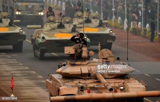 Indian Army T90 tanks take part during India's 69th Republic Day Parade in New Delhi on January 26 2018 India is marking its 69th Republic Day / AFP...