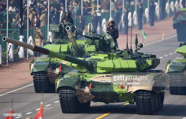 Indian Army T90 tanks take part during the Republic Day parade in New Delhi on January 26 2019 India celebrated its 70th Republic Day