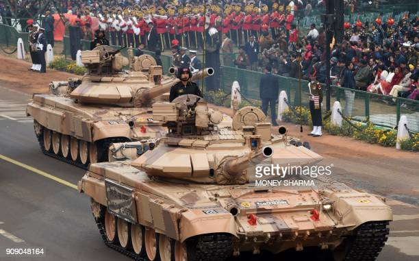 Indian Army T90 tanks take part in full dress rehearsal for the upcoming Indian Republic Day parade in New Delhi on January 23 2018 India will be...