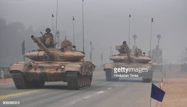 Indian army tanks participating in the rehearsals for Republic Day celebrations at Raj Path on January 17 2018 in New Delhi India