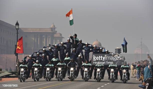 Indian Army's Corp of Signals' Dare Devil team displays their skills during the rehearsals ahead of the Republic Day parade at Vijay Chowk on January...