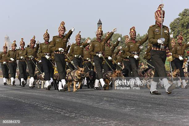 Indian Army's Remount and Veterinary Corps dogs trained for bomb disposal and counterinsurgency take part during a rehearsal for the Republic Day...