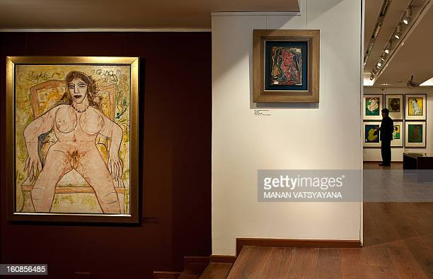 Indian artist FNSouza's painting is displayed at an art exhibition The Naked and the Nude at an art gallery in New Delhi on February 7 2013 Earlier...