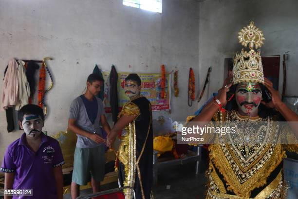 Indian artists dress up brfore traditional Ramleelaon ocassion of Dussehra festivalin Hanumanganj village24 kms from Allahabad on September...