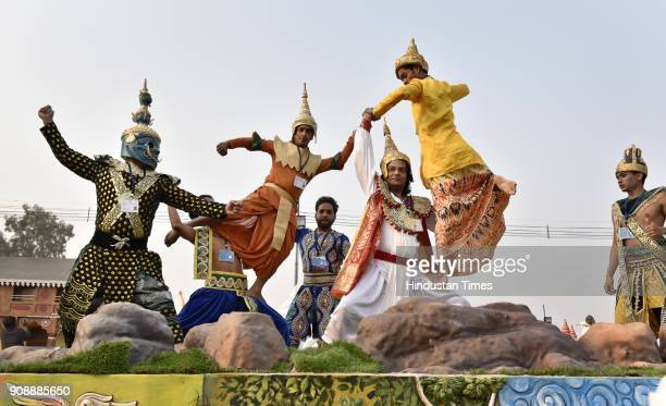 Indian artists performs ASEAN countries dance forms in Ministry of External Affairs Tableaux during a press preview of tableaux participating in...