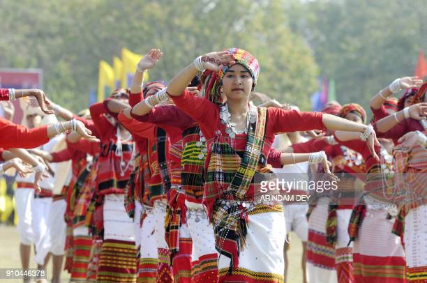 Indian artists take part in events to mark Republic Day in Agartala on January 26 2018 India is celebrating its 69th Republic Day / AFP PHOTO /...