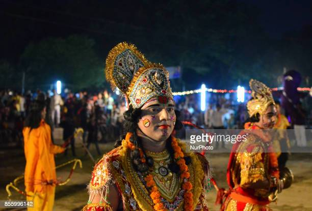 Indian artistsdressed as various charactersperform during traditional Ramleelaa play narrating the life of Hindu God Ramon ocassion of Dussehra...