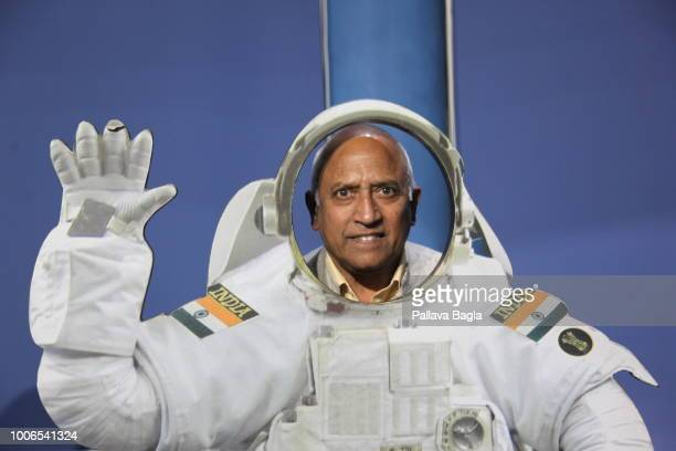Indian astronaut Wing Commander Rakesh Sharma poses behind an Indian astronaut uniform Today age 69 years and till date remains the only Indian...