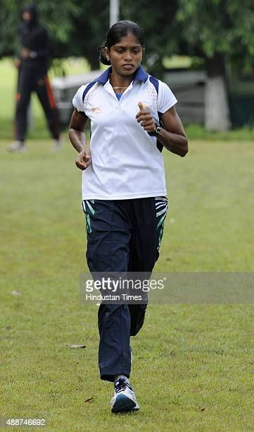 Indian athlete Tintu Lukka during a training session at the 55th National Open Athletics Championships SAI Complex September 17 2015 in Kolkata India