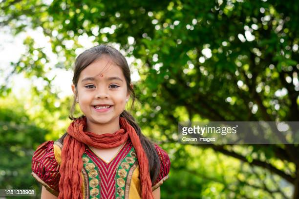 indian australian girl 5-8 years traditional indian clothing portrait - 8 9 years stock pictures, royalty-free photos & images