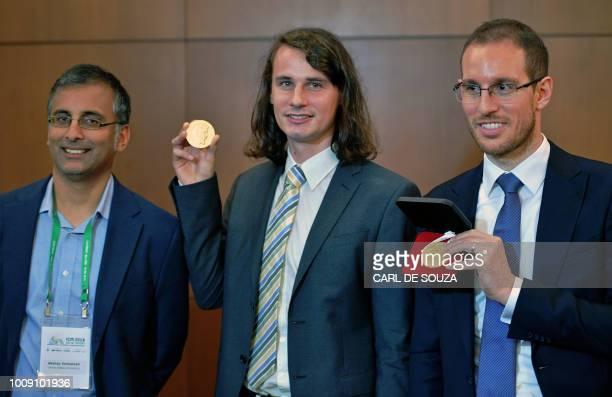 Indian Australian mathematician Akshay Venkatesh German mathematician Peter Scholze and Italian mathematician Alessio Figalli three of four winners...