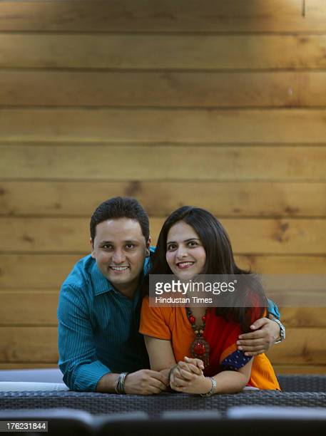 Indian author Amish Tripathi with his wife Preeti Vyas during a profile shoot on April 17 2013 in Mumbai India Tripathis debut novel The Immortals of...