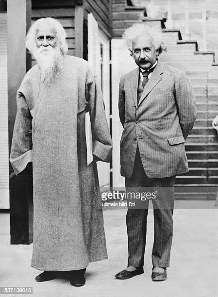 'Indian author and philosopher Rabindranath Tagore visits German/American physicist Albert Einstein in Caputh