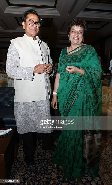 Indian author Ashok Chakradhar and politician Kiran Walia during the launch of author Simar Malhotra's novel There is a Tide at The Oberoi hotel on...