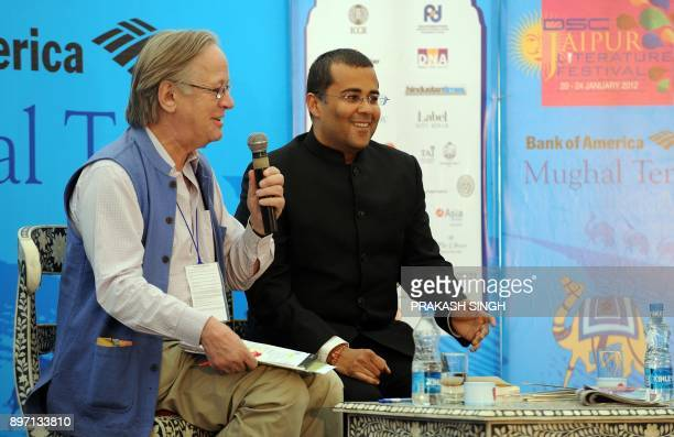 Indian Author Chetan Bhagat gestures while in conversation with John Elliot during DSC Jaipur Literature Festival in Jaipur on January 21 2012 Indian...