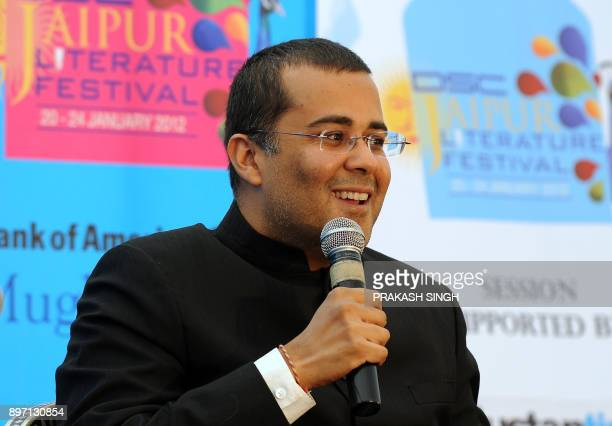 Indian Author Chetan Bhagat speaks during DSC Jaipur Literature Festival in Jaipur on January 21 2012 Indian police examined television footage on...