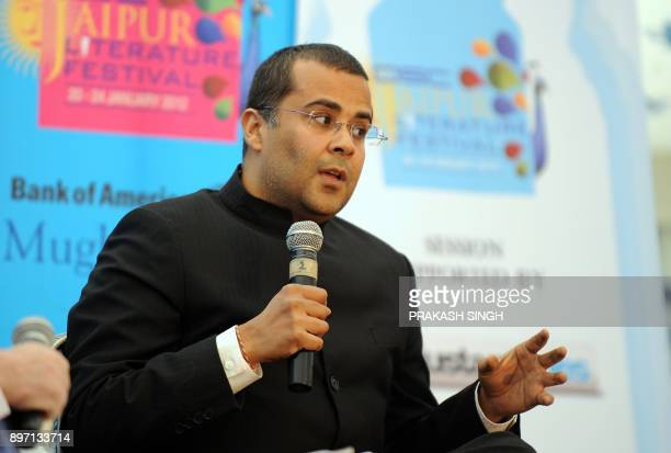 Indian Author Chetan Bhagat speaks during DSC Jaipur Literature Festival in Jaipur on January 21 2012 Indian police examined television footage today...