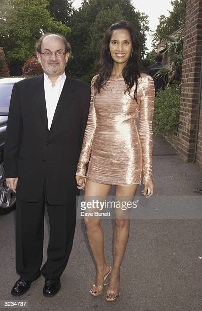 Indian author Salman Rushdie and girlfriend Padma Lakshmi attend Tatler's 100 Most Invited party held at the Belvedere Restaurant in Holland Park on...