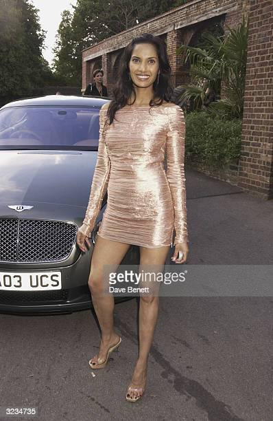 Indian author Salman Rushdie's girlfriend Padma Lakshmi attends Tatler's 100 Most Invited party held at the Belvedere Restaurant in Holland Park on...