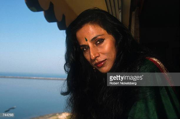 Indian author Shobha De nicknamed the Jackie Collins of Bombay for her spicy hot writing on sex poses for a portrait February1993 in Bombay India
