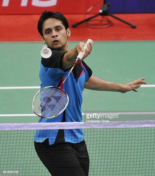 Indian badminton player Kashyap Parupalli in action against Malaysian badminton player Wei Feng Chong during the Thomas Uber Cup 2014 on May 18 2014...